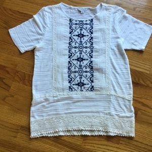 Lucky Brand Cotton and Lace Tee